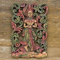 Teak relief panel, 'Angel' - Teak relief panel