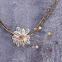 Citrine flower necklace, 'Honey Flower'