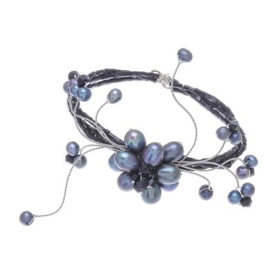 Floral Wristband Pearl Bracelet