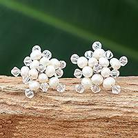 Pearl button earrings, 'White Stars'