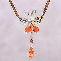 Carnelian and citrine pendant necklace, 'Flight' - Crystal Butterfly and Leather Choker from Thailand