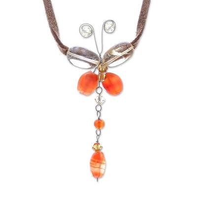 Carnelian and Citrine Butterfly Necklace