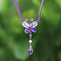 Amethyst and quartz choker, 'Flight'  - Handcrafted Quartz and Amethyst Butterfly Necklace