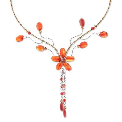 Hand Made floral Carnelian Necklace