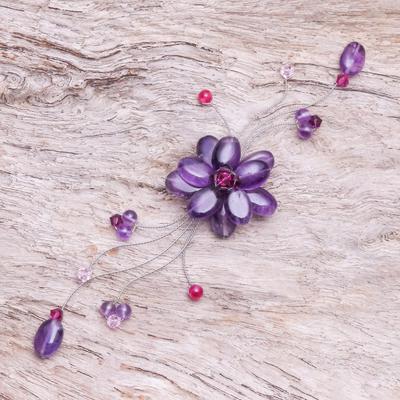 Amethyst brooch pin, 'Lilac Bouquet' - Floral Amethyst Brooch Pin