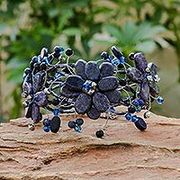 Lapis lazuli wrap bracelet, 'Garland' - Hand Crafted Floral Beaded Lapis Lazuli Bracelet