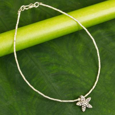 Silver anklet, 'Starfish' - Fair Trade Hill Tribe Silver Anklet