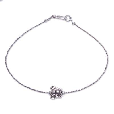 Silver anklet, 'Thai Butterfly' - Silver anklet