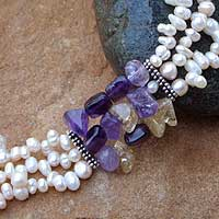 Pearl and amethyst beaded necklace, 'Escapade' - Handcrafted Pearl and Amethyst Necklace