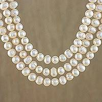 Cultured pearl strand necklace, 'Triple Halo' - Traditional Necklace with Three Strands of Pearls