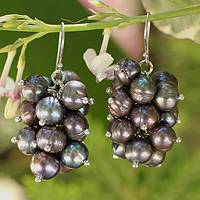 Pearl earrings, 'Black River Grapes' - Pearl Cluster Earrings