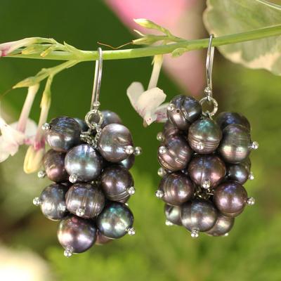 Novica Pearl earrings, Black River Grapes - Pearl Cluster Earrings