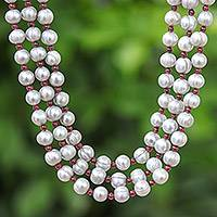 Cultured pearl and garnet strand necklace, 'Magic' - Handmade Grey Cultured Pearl and Garnet Strand Necklace