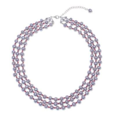 98cb02d94e56f Handmade Grey Cultured Pearl and Garnet Strand Necklace, 'Magic Pearl'