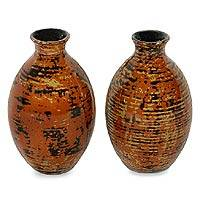 Lacquered decorative bamboo vases,