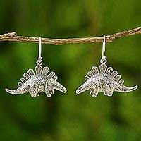 Silver dangle earrings, 'Dinosaur Shield'
