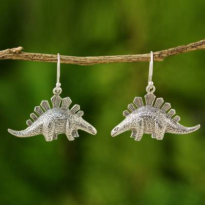 Silver dangle earrings, 'Dinosaur Shield' - Fair Trade 950 Silver Dinosaur Dangle Earrings