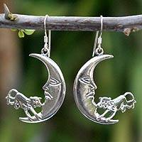 Sterling silver dangle earrings, 'Cow in the Moon' - Handmade Sterling Silver Dangle Earrings