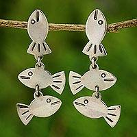 Silver dangle earrings, 'Silver Fishies' - Thai 950 Silver Fish Dangle Earrings
