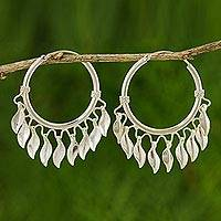 Sterling silver hoop earrings, 'Leaves in the Wind' - Handcrafted Dreamcatcher Silver Hoop Earrings