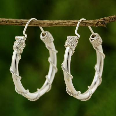 Sterling silver hoop earrings, 'Nautical Hoops' - Fair Trade Sterling Silver Hoop Earrings