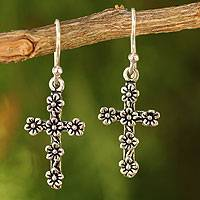 Sterling silver cross earrings, 'Blooms and Crosses' - Fair Trade Sterling Silver Religious Dangle Earrings