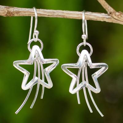Sterling silver dangle earrings, 'Shooting Stars' - Sterling Silver Dangle Earrings
