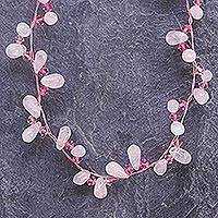Rose quartz choker, 'Autumnal Dew' - Handcrafted Beaded Rose Quartz Necklace
