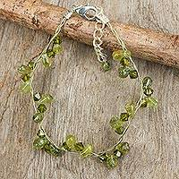 Peridot beaded bracelet, 'Summer Dew' - Beaded Peridot Bracelet