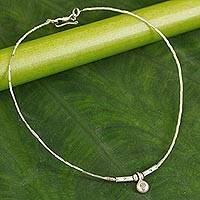 Silver anklet, 'Gem Flower' - Unique Hill Tribe Silver Charm Anklet