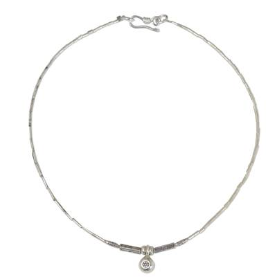 Silver anklet, 'Gem Flower' - Unique Hill Tribe Silver Charm Anklet