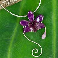 Natural orchid silver choker, 'Floral Swirls' - Natural Orchid Choker