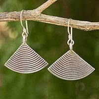 Silver dangle earrings, 'Silver Fans' - Silver dangle earrings