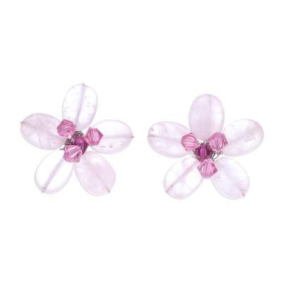 Rose Quartz Beaded Button Earrings