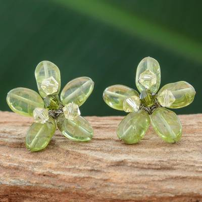 Peridot earrings, 'Lime Flower' - Peridot earrings