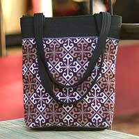 Cotton handbag, 'Hypnotic Poppy' - Cotton handbag