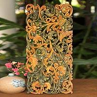 Wood relief panel, 'King of Dragons' - Handcrafted Wood Relief Panel