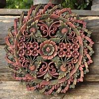 Wood relief panel, 'Floral Medallion' - Wood relief panel