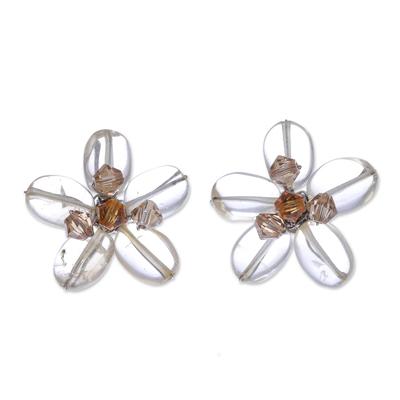 Unique Citrine Button Earrings