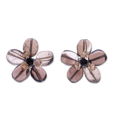 Quartz Button Earrings