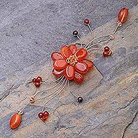 Carnelian and garnet brooch pin, 'Golden Bouquet' - Handcrafted Carnelian Flower Brooch Pin