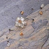 Citrine and garnet brooch pin, 'Yellow Bouquet'