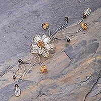 Citrine and garnet brooch pin, 'Yellow Bouquet' - Citrine and Garnet Beaded Brooch Pin