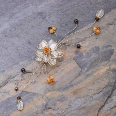 Citrine and garnet brooch pin, 'Yellow Bouquet' - Citrine and Garnet Beaded Brooch Pin