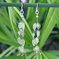Peridot waterfall earrings, 'Lime Drops' - Peridot Waterfall Earrings