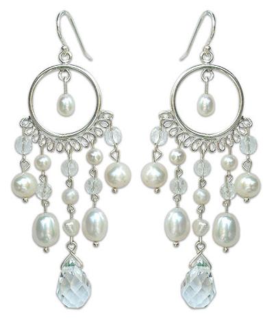 Pearl chandelier earrings, 'White Ruffles' - Hand Crafted Pearl Chandelier Earrings
