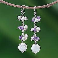 Pearl and amethyst cluster earrings, 'Sugarplums' - Pearl and amethyst cluster earrings