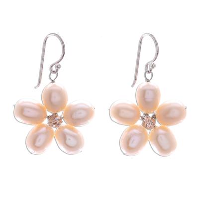 Pearl flower earrings, 'Pink Blossom' - Unique Pearl Flower Earrings