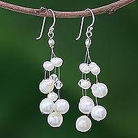 Pearl waterfall earrings, 'Pure Bliss' - Bridal Pearl Earrings