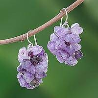 Amethyst cluster earrings, 'Lilac' - Unique Beaded Amethyst Earrings